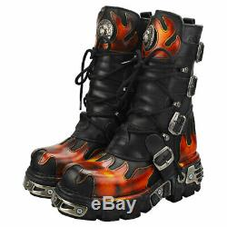 New Rock Flames And Reactor Unisex Black Red Leather Platform Boots