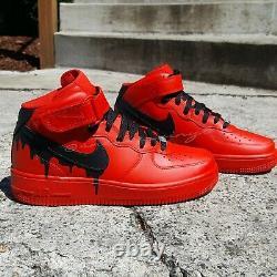 Nike Air Force 1 MID RED Black DRIP Custom NWT