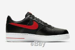 Nike Air Force 1 One 07 LV8 Low Black Red White Trainers 6 7 8 9 10 11 12