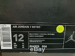 Nike Air JORDAN 7 Black/Red Retro 2002 Sz 12 Raptor DS VII Playoff 304775-006