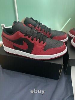 Nike Air Jordan 1 Low I AJ1 Reverse Bred Black Red White Men Sz10.5 553558-606