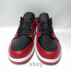 Nike Air Jordan 1 Low Reverse Bred Mens Size 15 Black Red 553558-606 AJ1 No Lid