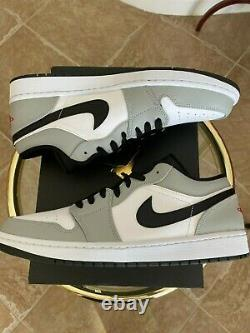 Nike Air Jordan 1 Low Smoke Grey Black Red White 553558-030 Size 12 NEW