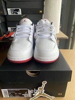 Nike Air Jordan 1 Low White Gym Red Black 553560-118 GS Size 7Y (Womens 8.5)