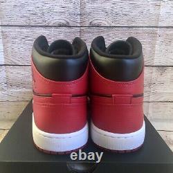 Nike Air Jordan 1 Mid Banned 2020 Black Red White Mens Size 13 554724-074