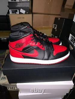 Nike Air Jordan 1 Mid Banned 554725-074 && 554724-074 Black Red Mens/GS Size