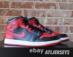 Nike Air Jordan 1 Mid Banned Black Red 554724-074 Size 7.5-13