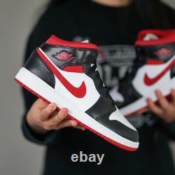 Nike Air Jordan 1 Mid GS White Gym Red Black DJ4695-122 Size 4Y-7Y
