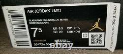 Nike Air Jordan 1 Mid Johnny Kilroy Men's Sneakers Black/Red/Silver Size 7.5