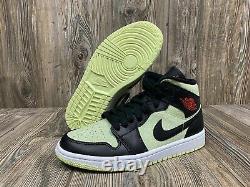 Nike Air Jordan 1 Mid SE Womens Size 9 fits Mens 7.5 Black Red Barely Volt