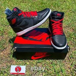 Nike Air Jordan 1 Retro High OG Black Satin Gym Red 555088-060 Mens Size 10
