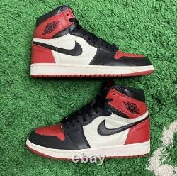Nike Air Jordan 1 Retro High OG Bred Toe 2018 Sz 8.5 555088-010 Black Red White