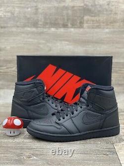 Nike Air Jordan 1 Retro High OG TRIPLE BLACK RED BRED 2017 555088-022 Size 10