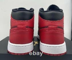 Nike Air Jordan 1 Retro Mid Banned 554724-074 Black Red Mens Size 8-13 Chicago