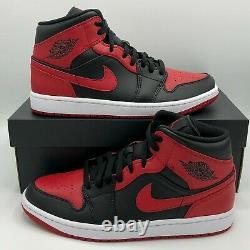 Nike Air Jordan 1 Retro Mid Banned Chicago 554724-074 Black Red Size 4y-13