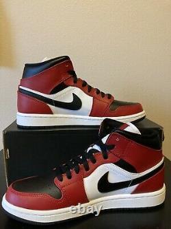 Nike Air Jordan 1 Retro Mid Chicago Bred Toe Sz 11 Black Red White 554724-069