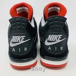 Nike Air Jordan 4 IV Retro Sz 8.5 Bred 2019 Cement Grey Fire Red OG 308497-060