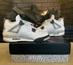 Nike Air Jordan 4 Retro OG White Cement Fire Red 2016 Men Size 8.5