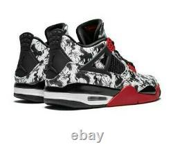 Nike Air Jordan 4 Retro Sneakers Tattoo Men Size 11 black/ red /white BQ0897-006