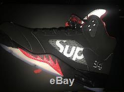 Nike Air Jordan 5 V Supreme Nyc Us 9 Uk 8 42.5 Retro 2015 White Black Red Aj5