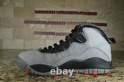 Nike Air Jordan Retro 10 X Cool Grey Black Infrared Red Gray Size 9.5 310805-023