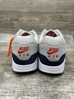 Nike Air Max 1 Obsidian Anniversary 10.5 908375-104 White Dark Navy Blue Red OG