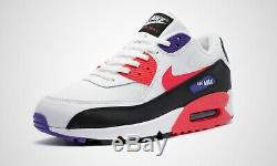 Nike Air Max 90 Essential White Black Red Purple Trainers Shoes 6 7 8 9 10 11 12