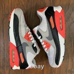 Nike Air Max 90 Infrared OG 2015 725233-106 White Grey Black Red Gray Size 11.5