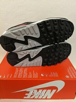 Nike Air Max 90 Premium Bred Shoes Black/Red Men's Size 10 CW7481-002 NEW