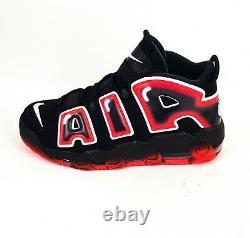 Nike Air More Uptempo 96 Mens Black Red Laser Crimson Trainers UK 10