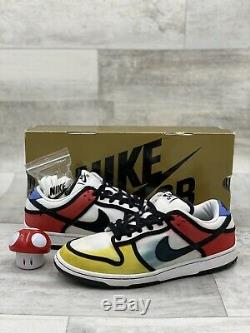 Nike Dunk Low Pro SB Piet Mondrian Size 9 White Black Red Yellow Blue 304292-702