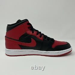 Nike Jordan 1 Mid Banned Bred Mens Size 10 Black Red White 554724-074 Dead Stock