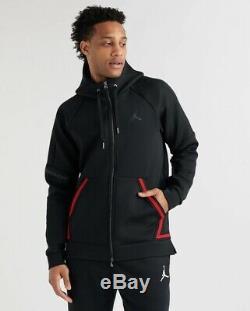 Nike Jordan Sportswear Flight Tech Black Red Men's Hoodie Sz Small (939940-010)