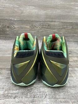 Nike Lebron 11 XI Kings Pride Jade Green Gold Black Red 616175-700 Size 11