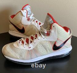 Nike Lebron VIII 8 V/2 Miami Heat Home White Black Red 429676-100 Size 14