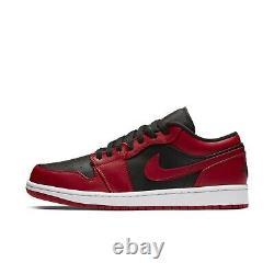 Nike Mens Air Jordan 1 Low I AJ1 Reverse Bred Black Red White Shoes 553558-606