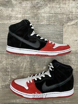 Nike SB Dunk High Uprise 313171-061 Size 12 Red Black White Hi Black Red White