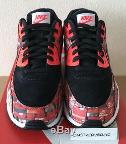 Nike x Atmos Air Max 90 Print We Love Nike UK 9.5 Black Red AQ0926 001 Rare