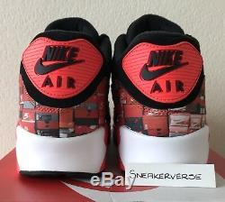 Nike x Atmos Air Max 90 Print We Love Nike UK 9.5 Black Red AQ0926 001 Rare DS