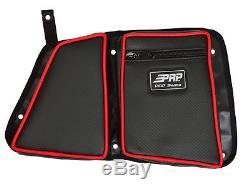 PRP Seats Black/Red Vinyl Rear Stock Door Bag Knee Pad Polaris RZR XP 4 1000