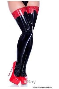 R1707 LATEX CELEBRITY FETISH Gummi Stockings BLACK/RED M SECONDS RRP £104.48