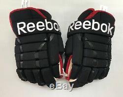 Reebok 852 4 Roll Pro Stock Hockey Gloves 13 Black Red Blackhawks 9222