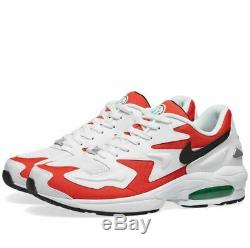 Sale NIKE AIR MAX 2 LIGHT WHITE, BLACK, RED & GREEN Trainer Limited Stock