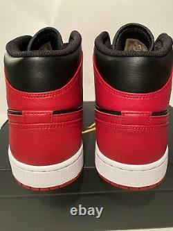 Size 10 Nike Air Jordan 1 Mid Banned Bred 554724-074 Retro OG Black Red Mens