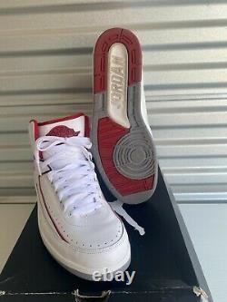 Size 11 Jordan 2 Retro White/black-Vrsty RED-CMNT GRY