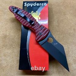 Spyderco Yojimbo 2 C85GPBBK2 S30V 3.2 Black Plain Edge Blade Red G10 scales