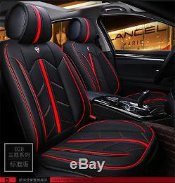 Standard Edition Car Seats Cover Set Front + Rear Microfiber Leather Black & Red