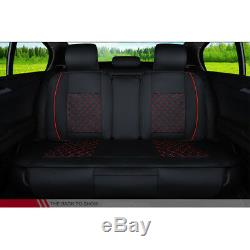US Stock 5 Seats Seat Cover Car PU Leather Full Cushions WithPillow Set Black&Red