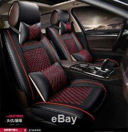 US Stock! Black&Red 6D Luxury Leather Ice Silk 5 Seat Car Seat Covers withpillow