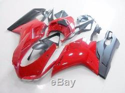 US Stock Red Matte Black Fairing Injection for 2007-2012 Ducati 848 1098 1198